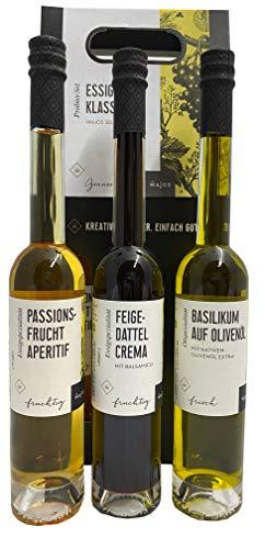 3er Geschenkset Essig- und Ölspezialitäten | Wajos | Passionsfrucht Aperitif | Dattel - Feigen Crema | Basilikum auf Olivenöl | 3 x 100 ml