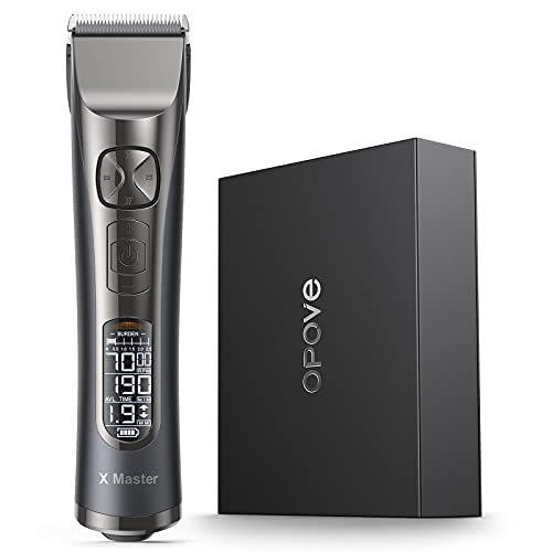 Hair Clippers for Men' Professional Hair Cutting Machine with 250 Minutes Runtime & LCD Display, Cordless & Quiet Hair Trimmers for Barbers and Stylists with 8 Guides & 5 Speeds, OPOVE X Master