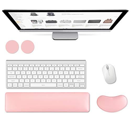 AtailorBird Handgelenkauflage Tastatur PU Leder Ergonomische Handballenauflage Set Memory Foam Rutschfest PU Gummi Basis Anti-Sehnenscheiden für Computer Laptop mit 2 Kostenloser Untersetzer - Rosa