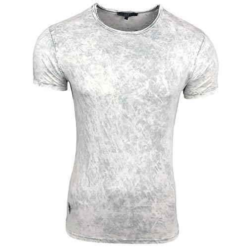 Batik Hype Herren T-Shirt Oil Washed Stretch Shirt Verwaschen S M L XL XXL 200, Farbe:Weiß, Größe:M