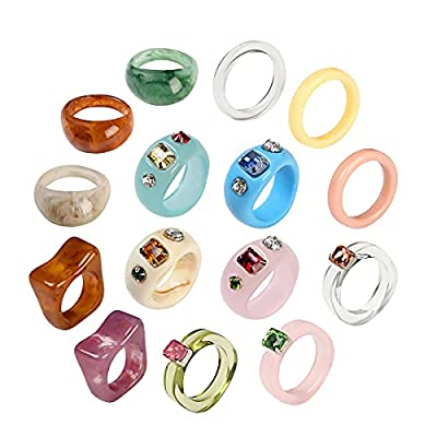 AIDSOTOU 15 Pcs Vintage Resin Acrylic Crystal Rings Cute Trendy Colorful Rhinestone Band Rings Jewelry Plastic Resin Unique Square Gem Stackable Chunky Ring for Women Teen Girls