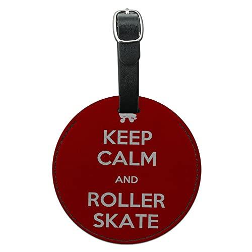 Graphics & More Keep Calm and Roller Skate Derby Round Leather Bagagli Id Tag Valigia a portata di mano, nero