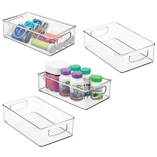 mDesign Stackable Plastic Storage Organizer Container Bin with Handles for Bathroom - Holds Vitamins Pills Supplements Essential Oils Medical Supplies First Aid Supplies - 3 High 4 Pack - Clear