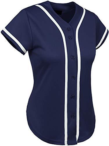 Hat and Beyond Womens Baseball Button Down Athletic Tee Short Sleeve Softball Jersey Active Plain Sport T Shirt (Medium, 3up01 Navy/White)