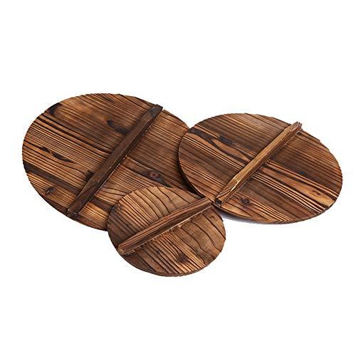 Moca Factory Couvercles en bois de wok faits à la main pour poêle à frire en fonte Diameter 35 cm