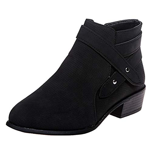 Womens Boots Solid Color Vintage Leather Square Heel Zipper Short Boots Round Toe Shoes Black