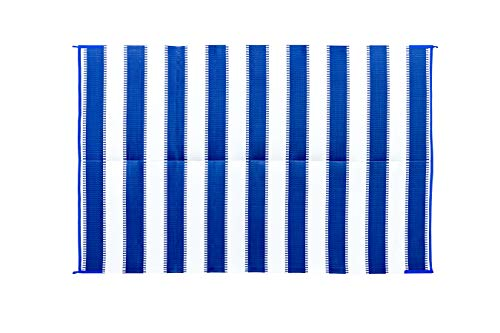 Camco 42871 Awning Leisure Mat-Blue Stripe 6' X 9'