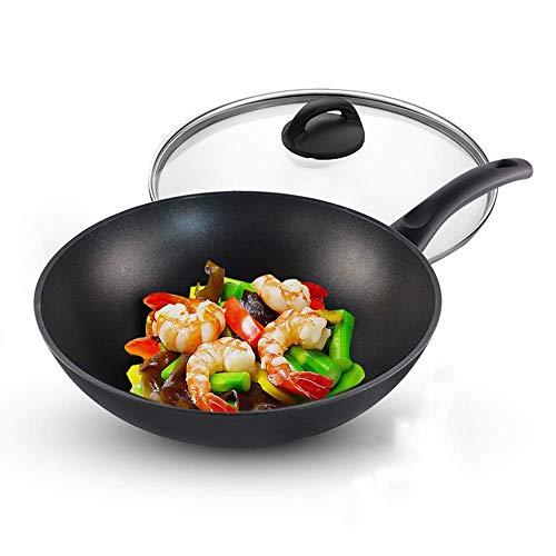 Aluminium Wok Pan, Sauteuse, 11 pouces Poêle avec couvercle, multi-fonction avec Skillet poignée de bakélite Convient for tous Hobs non inclus Cuisinière à induction 1yess