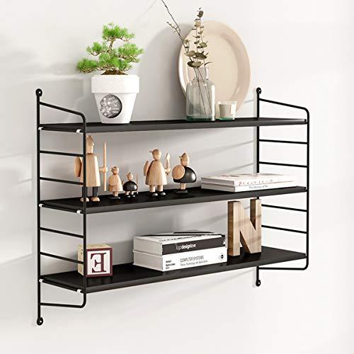Wandrek, scheidingswand voor tv-decoratie van smeedijzer, voor woonkamer, met stanssjabloon, voor keuken, ruimtebesparend. 80x20x75cm Black Willow