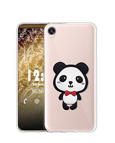 Sunrive Kompatibel mit Oppo R7s Hülle Silikon, Transparent Handyhülle Schutzhülle Etui 3D Hülle (W1 Panda 1)+Gratis Universal Eingabestift MEHRWEG