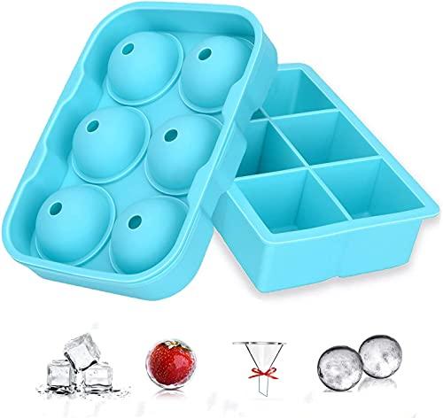 Cubitera de hielo, 2 unidades, bola de silicona, con tapa y gran forma cuadrada de cubitos de hielo, sin BPA, perfecto para congelador, whisky, cóctel, comida para bebés y vino