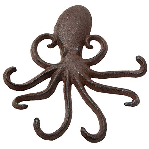 Comfify Gusseiserner Oktopus-Wandhaken - Schwebender Haken für den Eingang, die Tür oder das Bad - Innovatives Wanddekor mit Tentakeln zum Aufhängen von Kleidung - Schrauben und Dübel inklusive