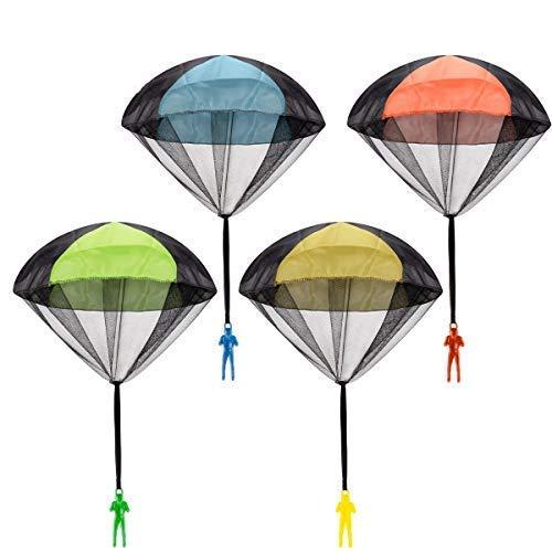 POAO Fallschirmspringer Spielzeug, 4 Stück Fallschirmspringer Outdoor Spielzeug ,Outdoor Spiele für Kinder