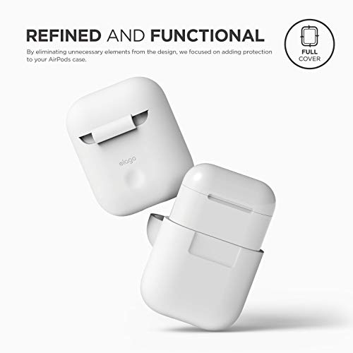 elago AirPods Silicone Case Designed for Apple Airpods Case 2 & 1 [Front LED Visible] - White