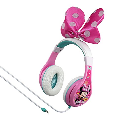 eKids Minnie Mouse Kids Headphones, Adjustable Headband, Stereo Sound, 3.5Mm Jack, Wired Headphones for Kids, Tangle-Free, Volume Control, Childrens Headphones Over Ear for School Home, Travel (MM-140.3Xv7)