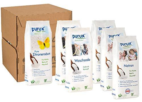 purux Natron, Soda, Zitronensäure Pulver 5kg + 850g, nachhaltig verpackt