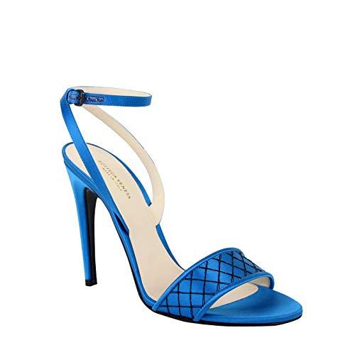 Bottega Veneta Women's Ankle Strap Teal Satin Heels 428970 4321 (39 EU / 9 US)