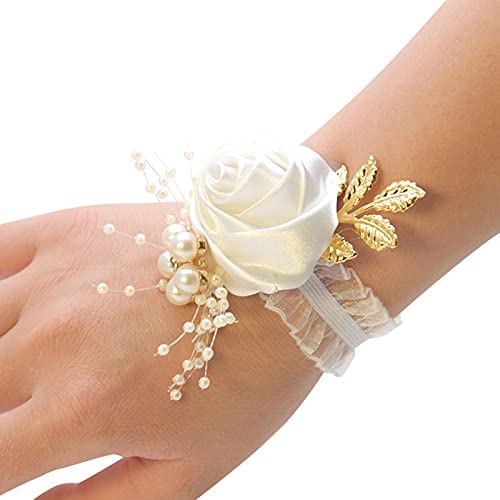 Taloit Ramillete de novia, boda artificial flor muñeca ramillete pulsera de encaje hojas decoración de cuentas, dama de honor muñeca flor flores accesorios