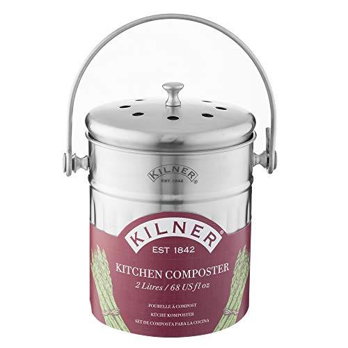 Kilner Küchen Komposter 2 Liter, Edelstahl Küchenkomposter, One Size