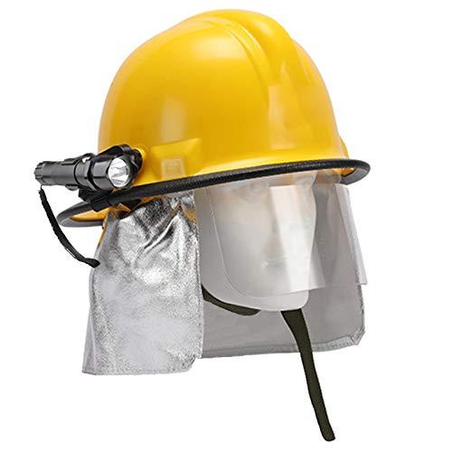 Casco de Rescate de Incendios para Exteriores Casco de Obra Civil, ABS Engrosado Protección Anti-Rotura Casco de Rescate de terremotos con Pantalla Protectora y Linterna Reflectante 🔥