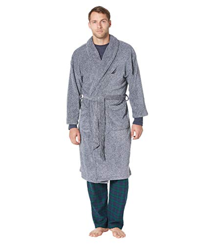 Nautica Men's Long Sleeve Cozy Soft Plush Shawl Collar Robe, Navy (KR06F7), One Size