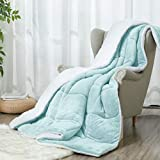 ART DEMO Home Sherpa Micromink All Season Ultra Soft Hypoallergenic Comforter Bed Set with Pillow Shams, 3Piece, Full/Queen Size, Smoke Blue