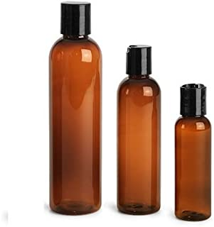 8 oz Empty Amber Plastic Cosmo Squeeze Bottles with Disc Top Flip Cap (6 pack); BPA-Free Containers For Shampoo, Lotions, Liquid Body Soap, Creams (8 ounce, Amber)