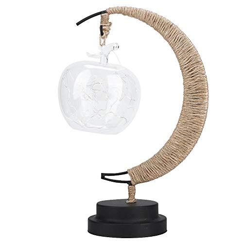 Pokerty LED-Nachtlicht, Apfel-Laterne, LED, handgefertigt, Hanfseil, Eisen, Nachtlicht, Schlafzimmer, Wohnzimmer-Lampe, Kinderzimmer-Dekoration Warmweiß