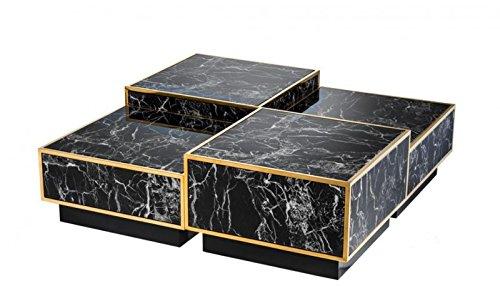 Casa Padrino Art Deco Luxus Couchtisch Kunstmarmor Gold finish 4er Set - Wohnzimmer Salon Tisch - Luxus Möbel