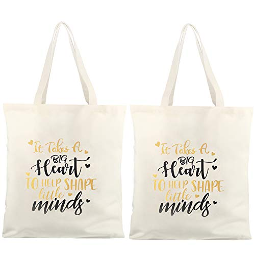 2 Pieces Teacher Bags with Pocket Teacher Appreciation Gifts Reusable Grocery Shopping Bags Teacher Gifts Glitter Cotton Canvas Tote Bags for Women