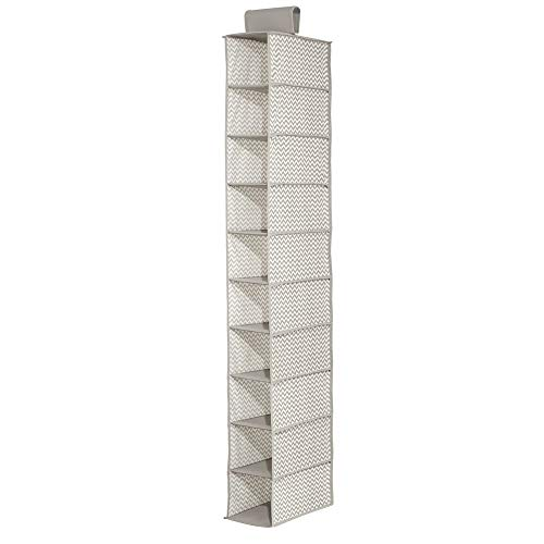 mDesign Soft Fabric Closet Organizer - Holds Shoes, Handbags, Clutches, Accessories - 10 Shelf Over Rod Hanging Storage Unit - Chevron Zig-Zag Print - Taupe/Natural