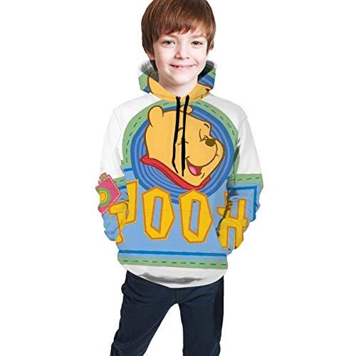 maichengxuan Pooh Bear Impresión Digital 3D de Moda, Suéter con Capucha para Adolescentes Sudadera con Capucha Cómoda para Niños/Niñas