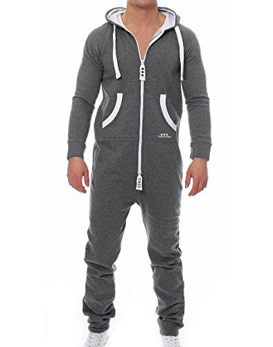 9t5 Tres Puntos Man Jumpsuit dunkelgrau-weiß L