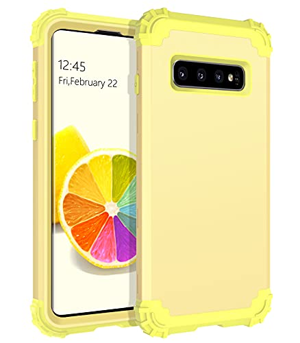 BENTOBEN Samsung Galaxy S10 Case, Galaxy S10 Case, 3 in 1 Heavy Duty Rugged Hybrid Hard PC Soft Silicone Bumper Shockproof Non-Slip Protective Cases for Samsung Galaxy S10 6.1' (2019), Yellow Lemon