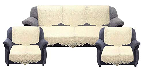Kuber Industries 10 Pieces Cotton 5 Seater Sofa Cover Set – Cream
