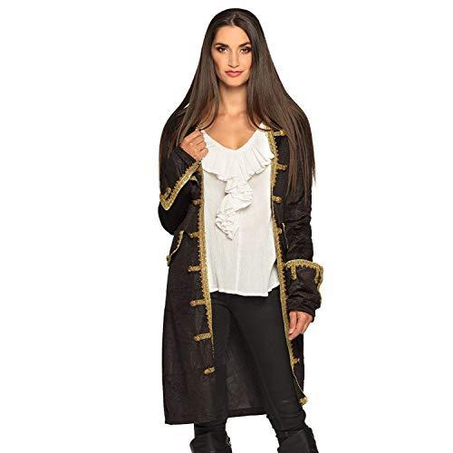 Boland 74173 - Chaqueta pirata para mujer, color negro y dorado, abrigo para mujer, pirata de mar, disfraz, carnaval, fiesta temática