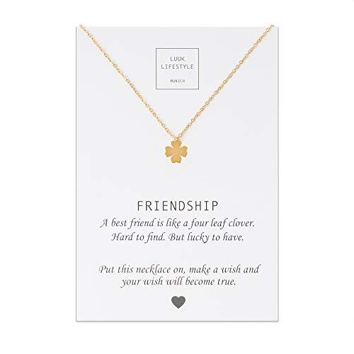 LUUK LIFESTYLE Edelstahl Halskette mit Anhänger und Friendship Spruchkarte, Glücksbringer, Freundschaftskette, Damen Schmuck - Kleeblatt Halskette - Gold