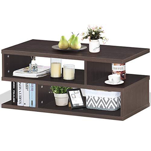 COSTWAY Couchtisch mit Ablage, Sofatisch Holz, Kaffeetisch modern, Beistelltisch Stauraum, Wohnzimmertisch braun 80x39,5x36cm