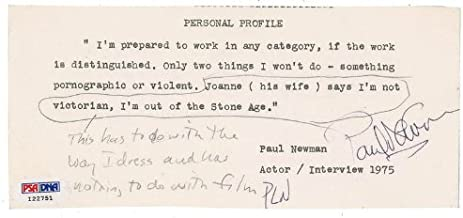 Paul Newman - Typed Quotation Signed