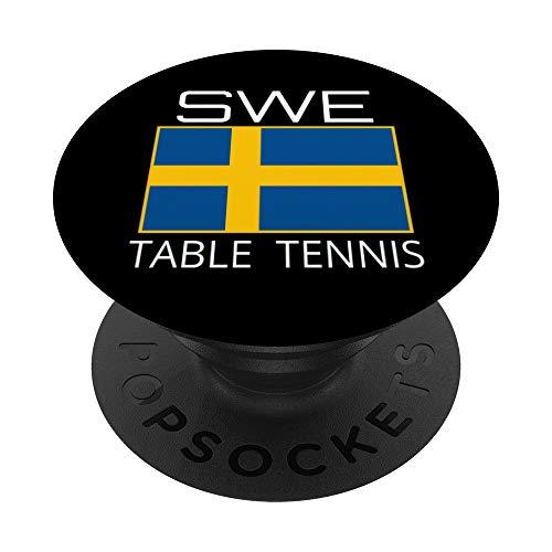 Suécia Tenis de Mesa Sueca de Ping Pong Atleta SWE Bandera PopSockets Agarre y Soporte para Teléfonos y Tabletas