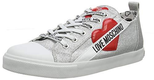 Love Moschino Scarpad.Gomma 30 Mm, Glitter, Chaussures de Gymnastique, Argenté (Argento 902), 35 EU