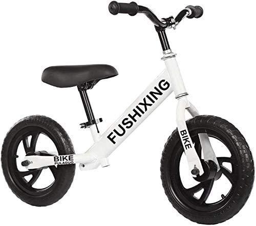 Adecuado Para Bicicletas De Equilibrio Para Niños Para Niños Y Niñas De 2 A 6 Años, Bicicletas De Equilibrio De No Pedal, Ruedas Inflables De 12 Pulgadas, Asientos Y Manillares Ajustable(Color:blanco)
