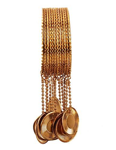 Touchstone Indische Bollywood Kalira Artbehänge süße solide Hochzeit Glocken Designer Schmuck dünne Armbänder Armreifen für Damen 2.37 Set von 12 Gold
