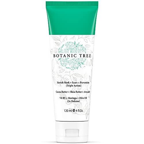 Botanic Tree Cocoa Butter Stretch Mark Cream - Belly Butter Stretch Mark Cream with Shea Butter for Pregnancy and Scar Treatment, Paraben Free, 4 oz.