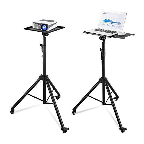 """Powerextra Projector Tripod Stand, Laptop Stand On Wheel, DJ Mixer Tripod Stand with Height Adjustable 46"""" to 79"""", Heavy Duty Portable Tripod with Plate and Casters Wheel for Other Audio Equipment"""
