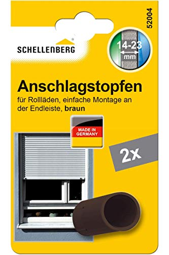 Schellenberg 52004 Rolladenstopper Anschlagstopfen für Rollladen 2 Stück - Doppelpack, Braun