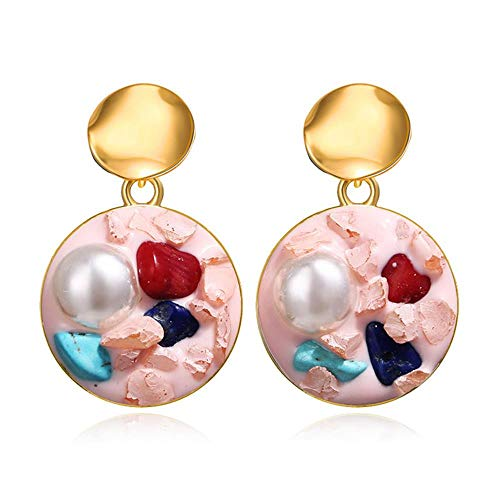 ASDFG - Pendientes de perlas de grava para mujer