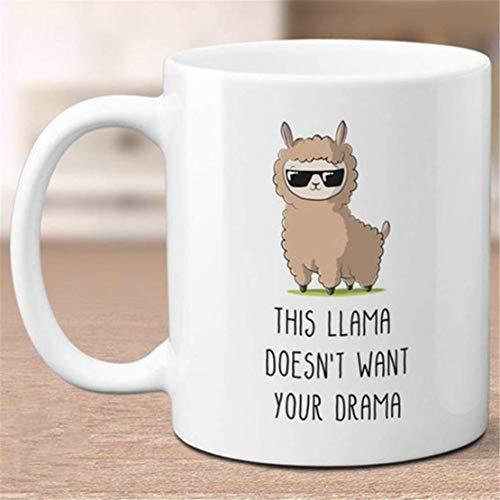 Esta llama no quiere tu drama Tazas divertidas Taza de té de café de cerámica 110z 11oz