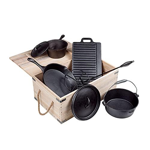 Juego de horno holandés de hierro fundido en caja de madera, 9 piezas, sartén de hierro fundido para barbacoa, ollas ya grabadas