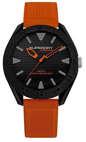 Superdry herenhorloge analoog kwarts horloge met siliconen armband SYG243OB